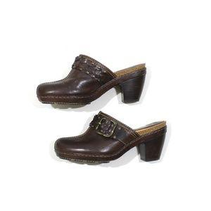 Frye Candace Leather Clog Heel Mule Buckle